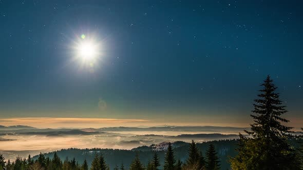Cover Image for Moon and Stars Time Lapse in Carpathian Mountains