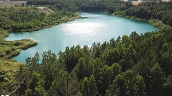 Thumbnail for Aerial view of green forest and lake shore