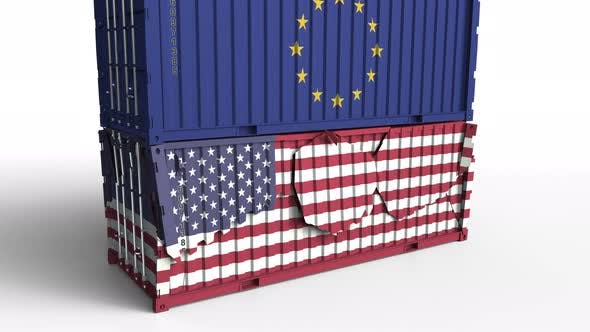 Thumbnail for Container with Flag of the EU Breaks Container with Flag of the USA