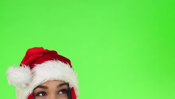 Thumbnail for Cropped Shot of the Eyes of a Happy Christmas Girl Looking at the Copy Space