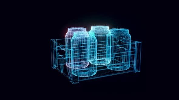 Wooden Crate With Jars Hologram Rotating 4k