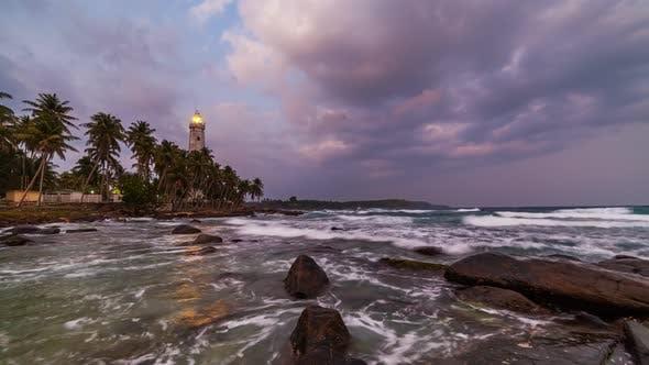 Thumbnail for White Lighthouse Dondra Head and Tropical Palms, Sri Lanka, Near Matara.
