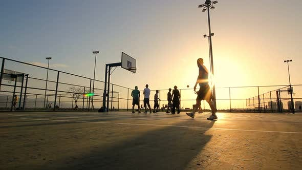 Thumbnail for Basketball Match During Sunset