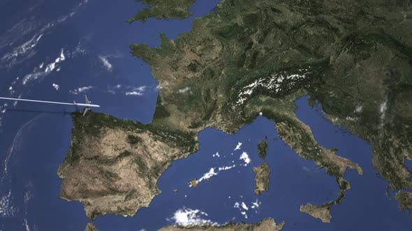 Cover Image for Route of a Commercial Plane Flying To Genoa Italy