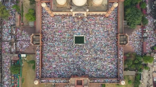 Aerial view of prayer during Eid al-Fitr at Jama Masjid in Delhi, India.