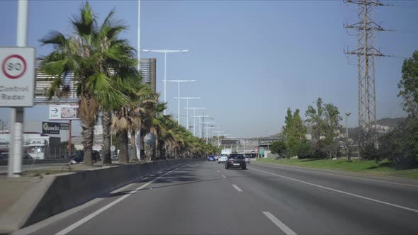 Thumbnail for Cars Driving on Highway of Barcelona. Automobiles Moving Along City Street