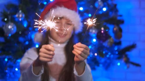 The Dancing Girl with Sparkler and Holiday