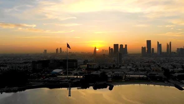 Aerial view of Dubai skyscrapers during scenic sunset, Dubai, U.A.E.