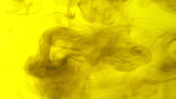 Thumbnail for Ink clouds moving through water. yellow and black, smoke