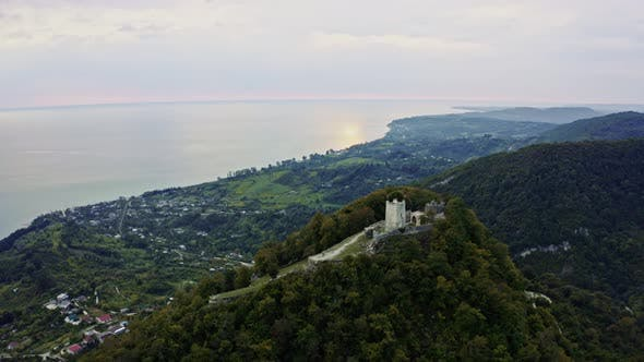 Drone Shows Old Beauty of Anacopia Fortress and Amazing Black Sea with Long Coast Line Connecting