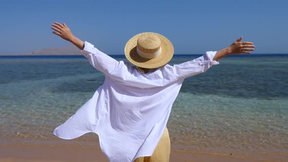 Thumbnail for Free Happy Woman With Arms Outstretched By The Sea On Beach