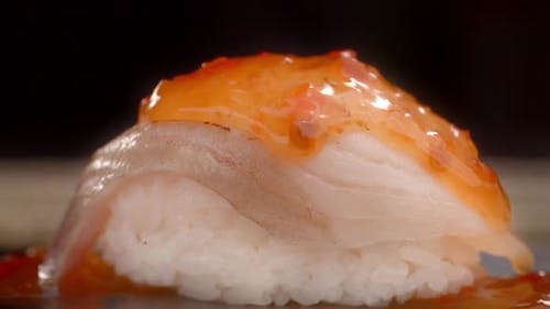 Hot Spicy Cause Is Dripping From Sashimi, Making the Sushi in Slow Motion, Cooking Sashimi, Asian