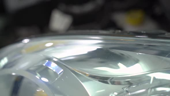 Headlights And Hood Of Car