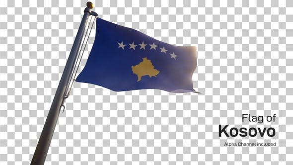 Kosovo Flag on a Flagpole with Alpha-Channel