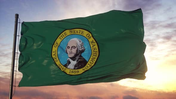 Flag of Washington Waving in the Wind Against Deep Beautiful Sky at Sunset