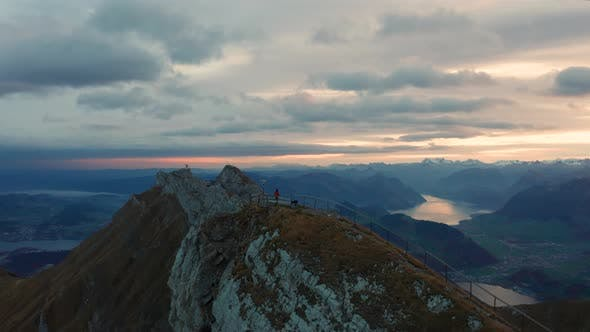 Thumbnail for Aerial View of Mount Pilatus During Sunrise. Autumn Switzerland