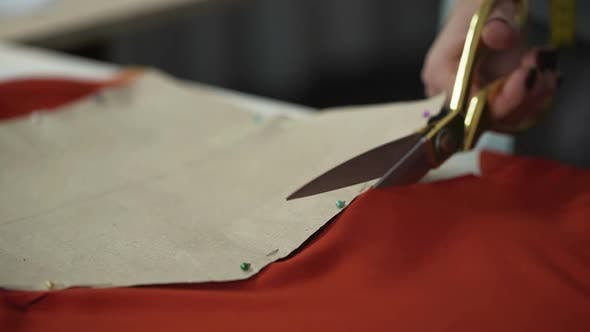 Thumbnail for Designer Cutting Red Fabric Pattern, Workshop for Tailoring Clothes, Design
