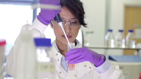 Thumbnail for Scientist dropping liquid into vial in genetic laboratory