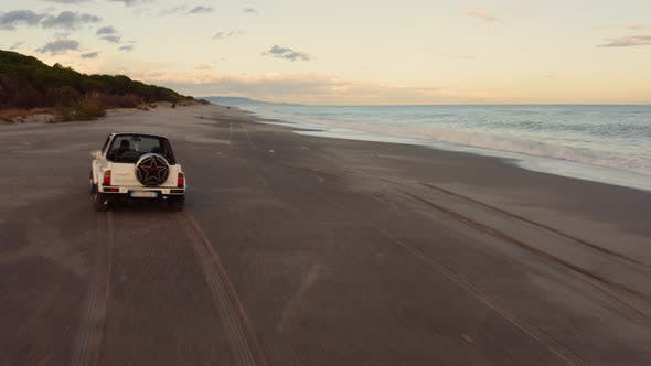 Car off road in the beach