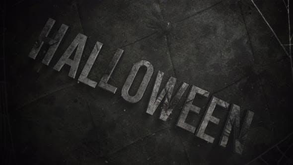 Animationstext Halloween und mystischer Horrorhintergrund mit dunklem Spinnennetz