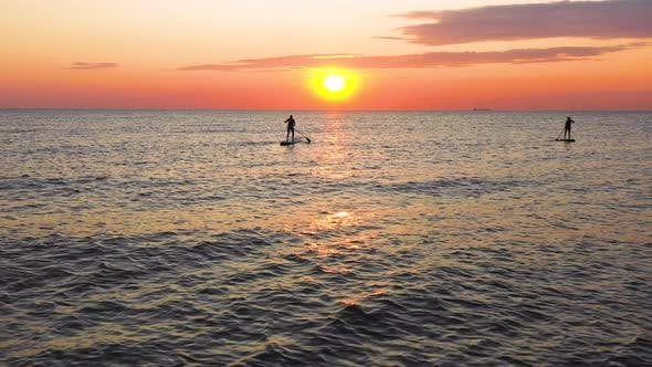 Thumbnail for Stand Up paddlers enjoy the sunset on the sea. Couple silhouettes paddling together.