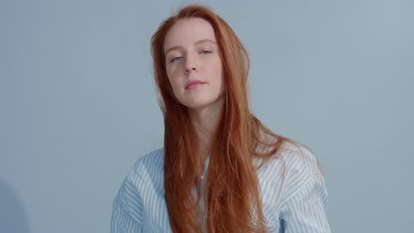 Thumbnail for Gingerhead Red Hair, Ginger Hair Model with Blue Eyes on Blue Background
