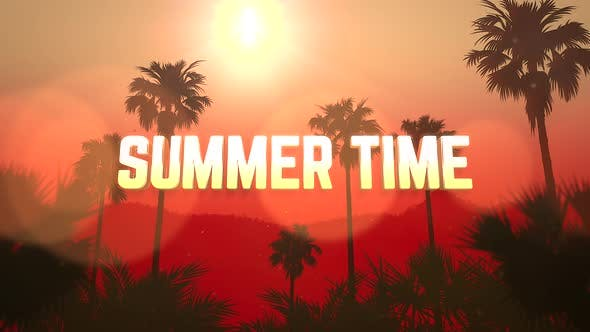 Text Summer Time and panoramic of tropical landscape with palm and sunset