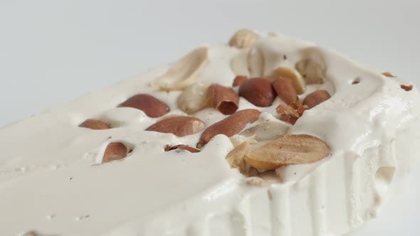 White halva with nuts 4K panning video