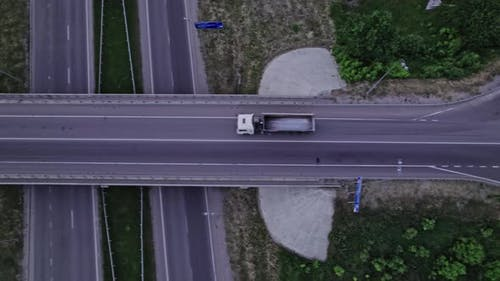 Aerial View of a Highway Intersection with a Cloverleaf