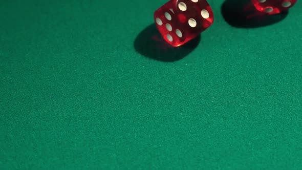 Thumbnail for Throwing dice in slow motion, gambling in casino. Winning combination, fortune