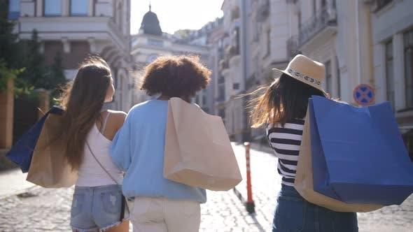 Thumbnail for Multinational Shopper Girls Smiling at Camera