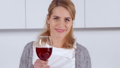Female with Blond Hair with Drink