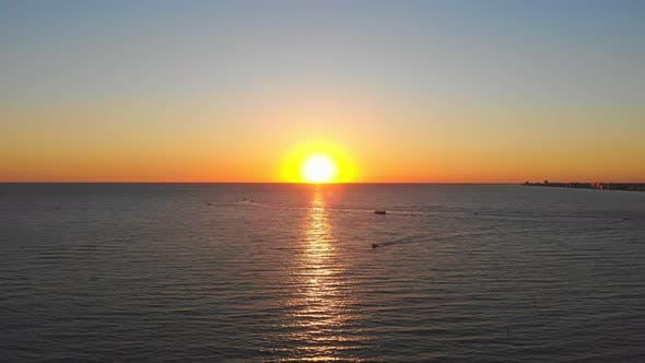 Beautiful Sunset Over the Sea. The Sun Is Reflected in the Water, Fabulous Sunset Landscape