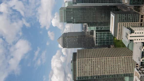 Vertical Video Timelapse Video of Canary Wharf London