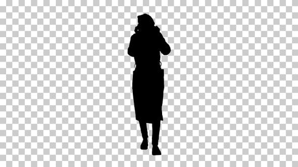 Thumbnail for Silhouette Woman putting on protective face mask, Alpha Channel