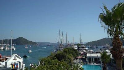 Luxury Yacht Marina Aerial View 4K