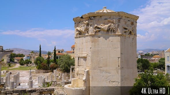 4K Tower of the winds in Athens, Greece