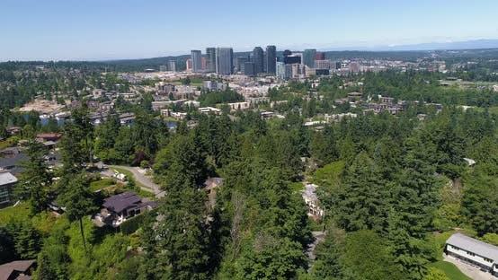 Bellevue Washington Downtown Skyline Aerial Above View