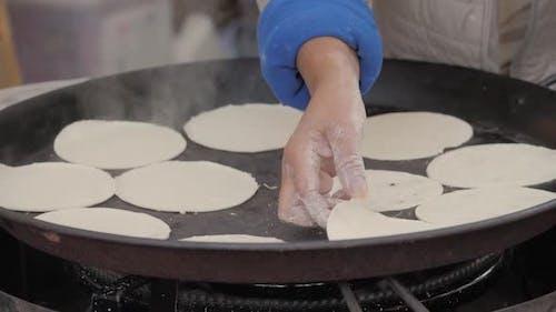 The Process of Preparing a Quesadilla Traditional Mexican Dish