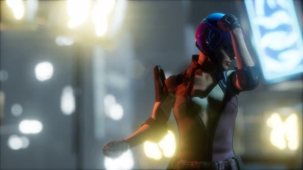 Thumbnail for Future Woman Cyberpunk Concept with Neon City Lights