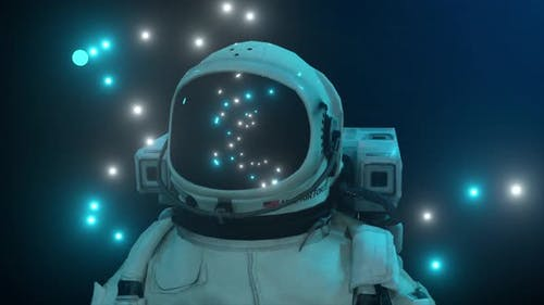 Astronaut Surrounded By Flashing Neon Lights