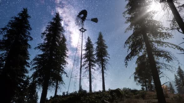 Thumbnail for Retro Windmill in Mountain Forest with Stars