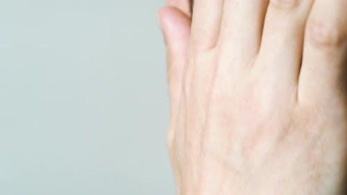 Makro des Menschen mit Schnurrbart und Bart