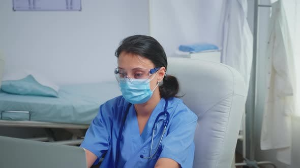 Thumbnail for Ward Assistant Having Protection Mask and Glasses