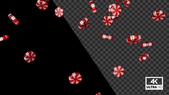 Bonbons à la menthe poivrée tombant lentement