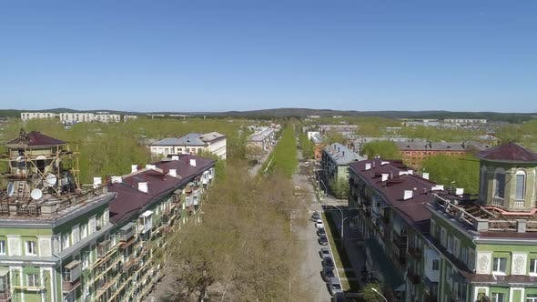 Thumbnail for Aerial view of the old four-story houses in a provincial town 08