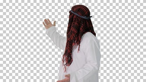 Sheikh wearing keffiyeh doing welcome gesture, Alpha Channel