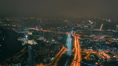 A time-lapse of moving cars in the big city at night