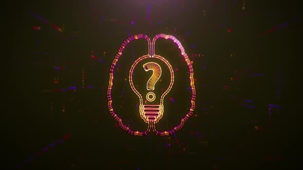 Thumbnail for Scan Brain with Idea Bulb and Question Mark