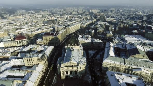 Thumbnail for LVOV, UKRAINE. Panorama of the Ancient City. The Roofs of Old Buildings. Winter.